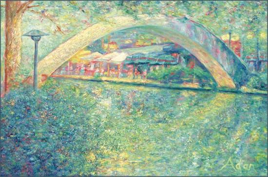 San Antonio Riverwalk, Original Painting by Adan Lerma