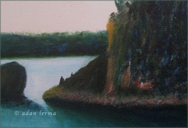 Detail, Rock Point, Vermont - Original Painting by Adan Lerma 1986