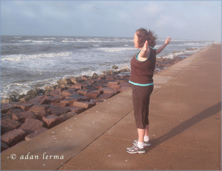 Finding Gratitude, Sheila on Galveston Seawall circa 2010