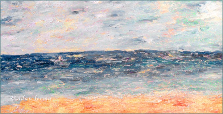 The Sea, Original Oil Painting by Adan Lerma