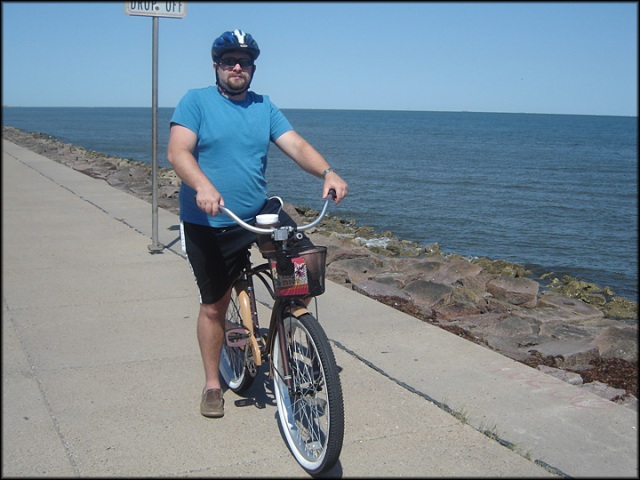 Scotty on Bike on Galveston Seawall