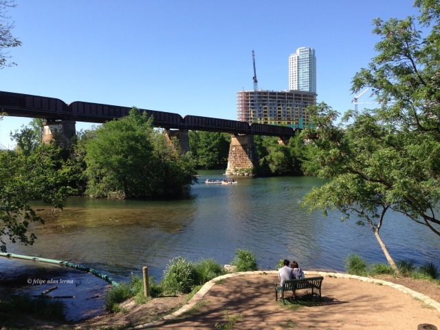 Couple on Bench off Hike & Bike, Austin Texas