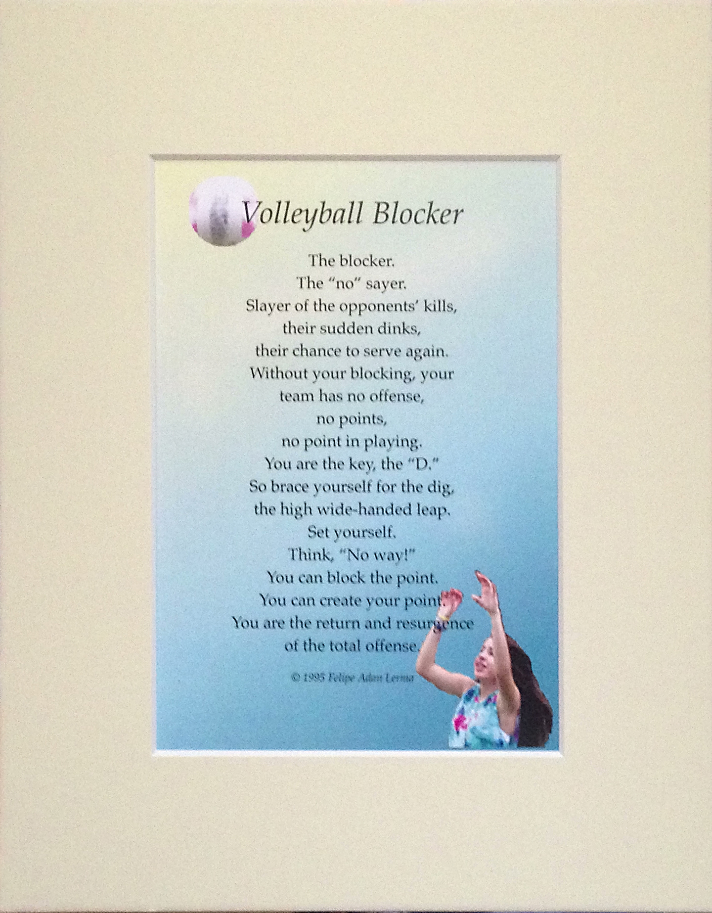 Volleyball Gifts Original Sports Poetry Matted Mounted
