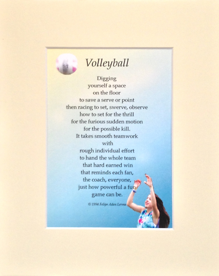 volleyball gift writing with mat
