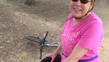Sheila on bike ride round Lady Bird Lake Oct 2014 ©Felipe Adan Lerma