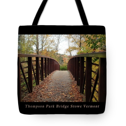 Tote Bag Gift Item (one of many) available along with prints @FineArtAmerica https://fineartamerica.com/featured/thompson-park-bridge-stowe-vermont-poster-felipe-adan-lerma.html?product=tote-bag