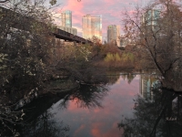Austin Hike and Bike Trail - Train Trestle 1 Sunset Right Greeting Card Poster - Over Lady Bird Lake