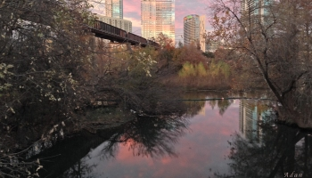 Austin Hike and Bike Trail - Train Trestle 1 Sunset Right Greeting Card Poster - Over Lady Bird Lake @Felipe Adan Lerma - All Rights Reserved