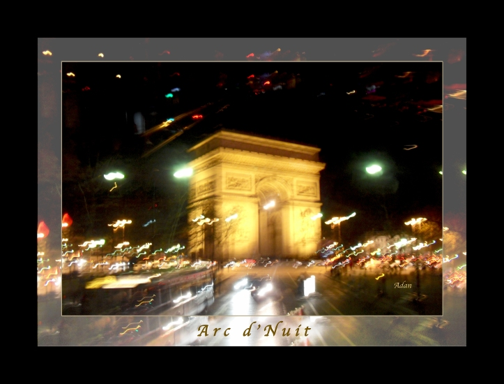 Arc de Triomphe by Bus Tour Greeting Card Poster * @Felipe Adan Lerma - All Rights Reserved * Available in two posters, an image-only, and vertical cut versions.