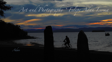 Sunset bicycling by Earth Clock at Oakledge Park Burlington Vermont - https://fineartamerica.com/featured/sunset-bicycle-at-earth-clock-burlington-vermont-panorama-felipe-adan-lerma.html . © Felipe Adan Lerma .