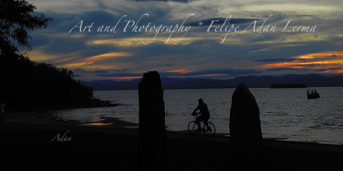 Sunset Bicycle Ride at Earth Clock Burlington Vermont ©Felipe Adan Lerma