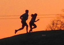 Runners cresting the hill © Felipe Adan Lerma - https://fineartamerica.com/featured/birds-and-fun-at-butler-park-austin-jogging-sunset-run-felipe-adan-lerma.html