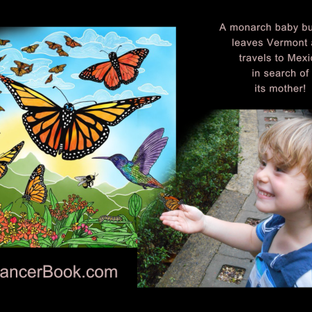 Author's son, Max, releasing butterflies in a promo for Tania Marie DeGregorio's illustrated children's book, Skydancer - On Amazon - https://amzn.to/2ZefzqB .