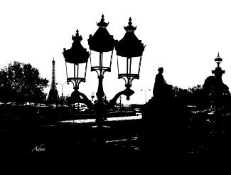 Three Lamps to the Eiffel Tower BW Paris ©Felipe Adan Lerma