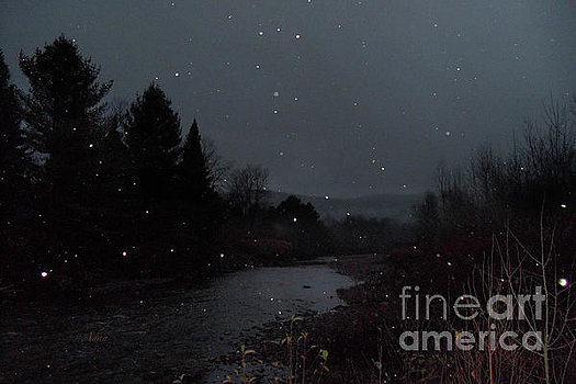 Little River Night Scene with Snow in Air ©Felipe Adan Lerma; available in my Fine Art America site - xxxx