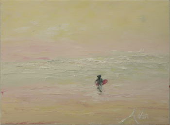 Surfing the Light © Felipe Adan Lerma, 12x16 Palette Knife Water Soluble Oil Painting on Canvas
