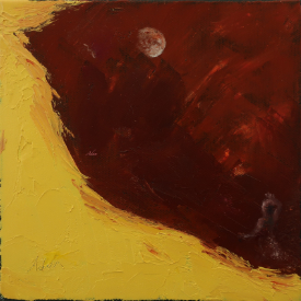 Woman in Moonlight ©Felipe Adan Lerma, 8x8 gallery wrap palette knife oil painting; surreal abstract