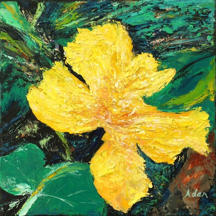Dancing Flower - 8x8 palette knife oil painting © Felipe Adan Lerma.  Prints & gifts at https://fineartamerica.com/featured/dancing-flower-felipe-adan-lerma.html?newartwork=true .