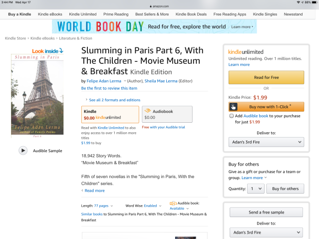 """Screenshot, with audio book sample button, of Amazon page for """"Slumming in Paris Part 6, With the Children - Movie Museum & Breakfast"""" by Felipe Adan Lerma - https://www.amazon.com/dp/B00GWYSX5M ."""