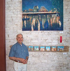 """With """"Austin at Night"""" at a Red Cross auction in Austin mid 2000s https://fineartamerica.com/featured/austin-at-night-felipe-adan-lerma.html ©Felipe Adan Lerma"""