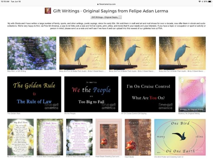 Sample Page of My Gift Writings at Fine Art America Felipe Adan Lerma https://fineartamerica.com/profiles/felipeadan-lerma.html?tab=artworkgalleries&artworkgalleryid=651453 .