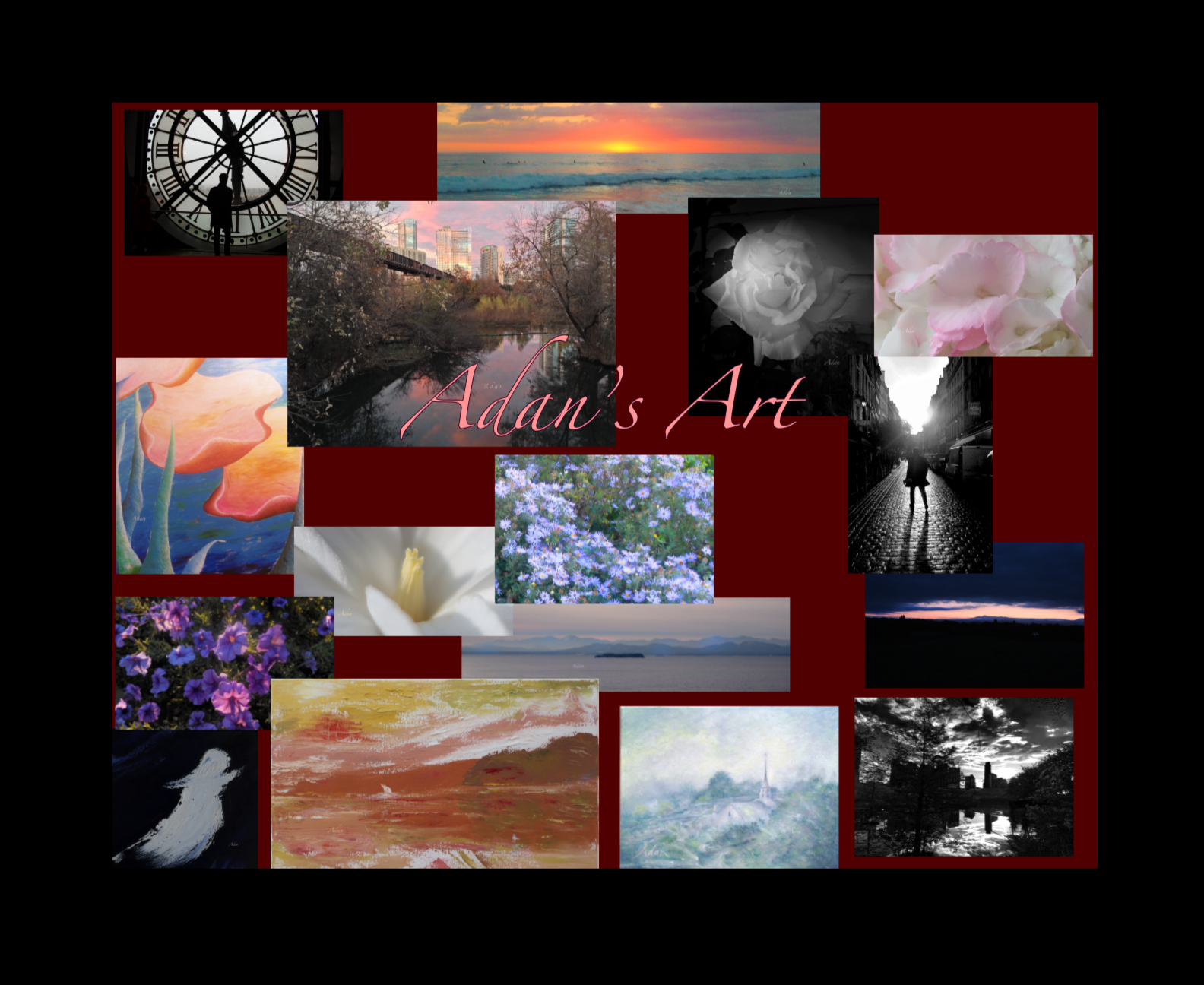 Paintings Photography and Digital Designs by Felipe Adan Lerma. From Paris to Vermont, Costa Rica to Austin and Galveston, including florals, sunsets, Black and White, and gift writings from Mom to the Rule of Law. @ www.FelipeAdanLerma.com .