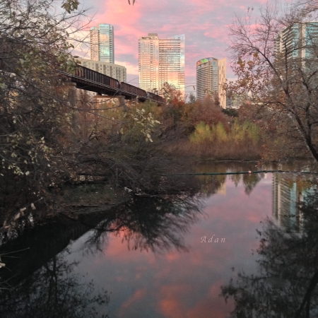 Austin Pink Sunset circa 2017 https://fineartamerica.com/featured/austin-hike-and-bike-trail-train-trestle-1-sunset-triptych-right-felipe-adan-lerma.html