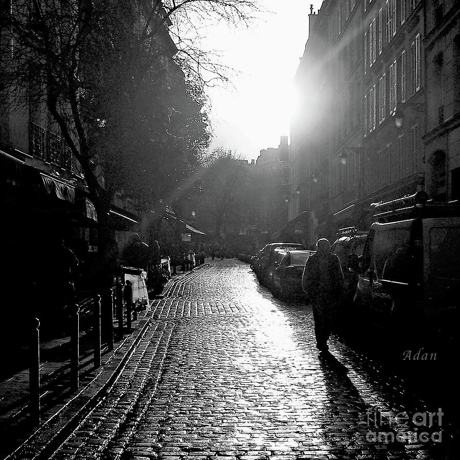 Evening Walk in Paris BW © Felipe Adan Lerma https://fineartamerica.com/featured/evening-walk-in-paris-bw-squared-felipe-adan-lerma.html - for reblog of post by Jane Dougherty at https://janedougherty.wordpress.com/2019/05/28/hotel-de-la-gare/ .