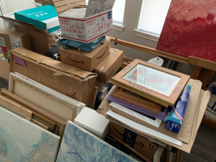 Art room after the move 1st of June before gallbladder surgery & before redo 1st of Sept