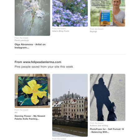 Top Pinterest pins from my site 2nd wk Aug '19. White Blue Cluster Floral & Dancing Flower making repeat appearances 😊 https://www.pinterest.com/felipeadanlerma/felipe-adan-lerma/