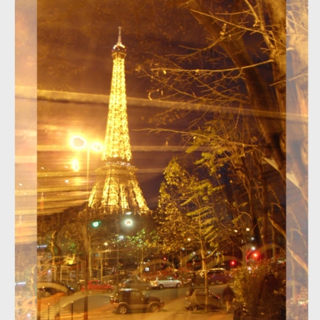 Eiffel Tower Bus Tour Night Poster with paper outline © Felipe Adan Lerma