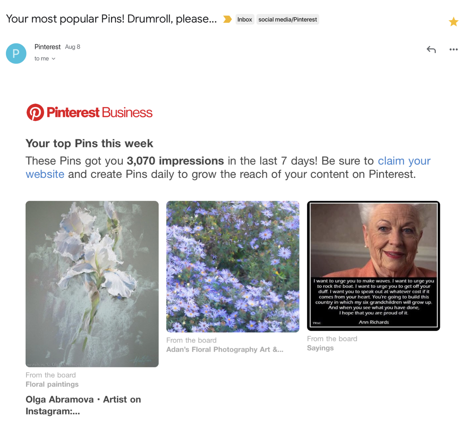 Olga Abramova's White Floral - My White Blue Cluster - and Ann Richards! - my top pins 1st week in August '19 on Pinterest - https://www.pinterest.com/felipeadanlerma .