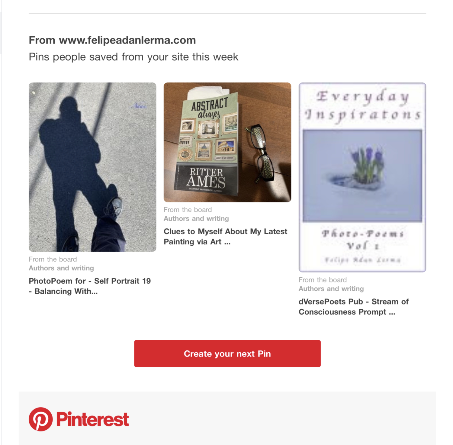 Pins people saved from my site from my blog, 1st week in August '19 on Pinterest - https://www.pinterest.com/felipeadanlerma - Self Portraits, Mystery Fiction, PhotoPoems