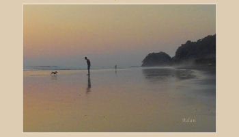 Playtime ©Felipe Adan Lerma - Poster Version. Golden sunset beach scene in Costa Rica with man and his small dog. Avail for prints & gifts at Fine Art America - https://fineartamerica.com/featured/la-casita-playa-hermosa-puntarenas-costa-rica-playtime-crop-poster-felipe-adan-lerma.html .