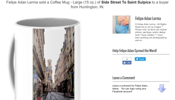 "Sold Notice for Paris image ""Side Street to Saint Sulpice"" © Felipe Adan Lerma on lg coffee cup via Fine Art America - https://fineartamerica.com/featured/side-street-to-saint-sulpice-felipe-adan-lerma.html"