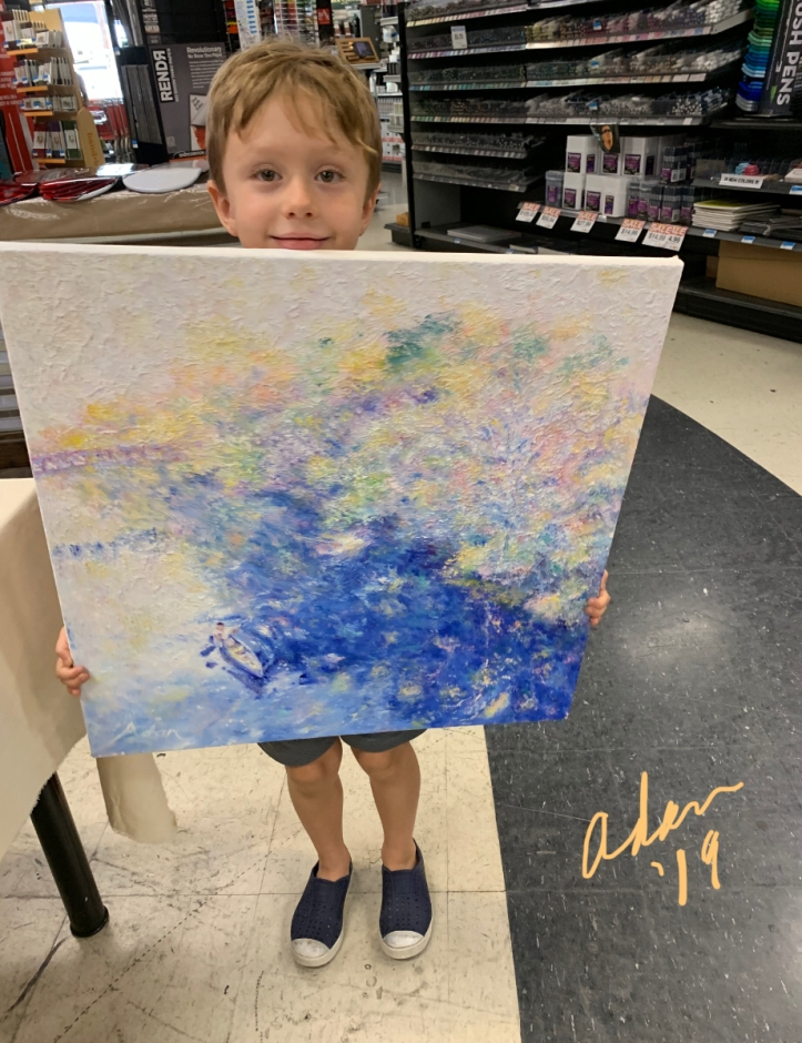 Grandson holding Autumn Austin (the sold painting) at drop off for the U.S. Veterans Art Show at Jerry's Artarama 2019 🇺🇸 🎨
