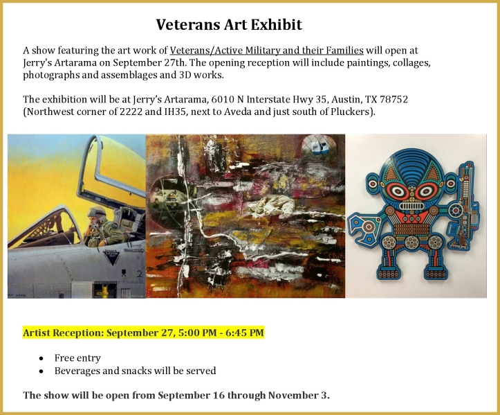 U.S. Veterans Art Show Flyer 2019 at Jerrys Artarama Austin Texas - for more info call 512.842.4639 .