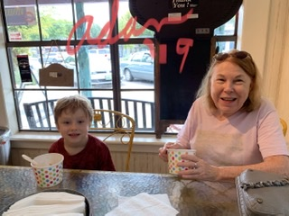 Max & Grandma at Wooden Spoon Wimberley Tx, 2 - eating Yogurt Ice Cream 😊 ©Felipe Adan Lerma