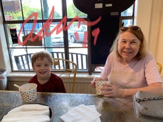 Max & Grandma at Wooden Spoon Wimberley Tx, 3 - eating Yogurt Ice Cream 😊 ©Felipe Adan Lerma