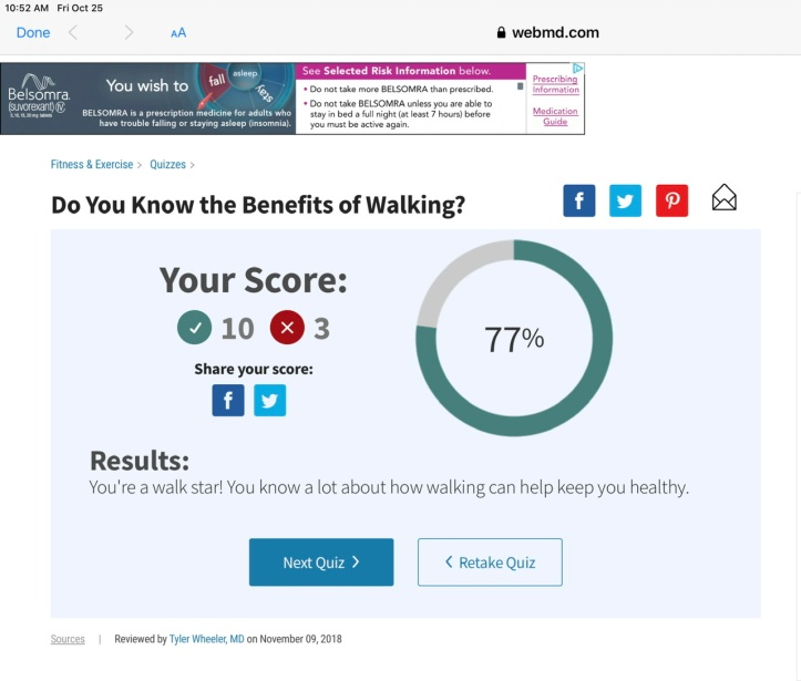 WebMD Walking Quiz - My Score 😊 www.webmd.com/fitness-exercise/rm-quiz-benefits-walking