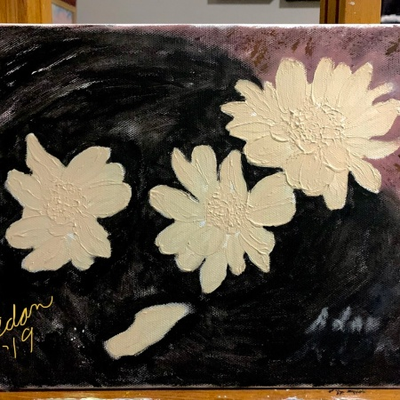 Floating Blooms Acrylic Experiment, Adding Background base, sig location 11.30.19 ©Felipe Adan Lerma