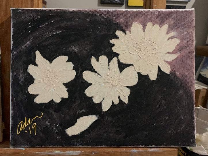 Floating Blooms Acrylic Experiment, Adding Background base 11.30.19 ©Felipe Adan Lerma