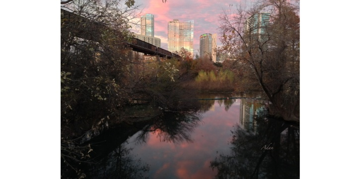 Austin Pink Sunset https://felipeadan-lerma.pixels.com/featured/austin-hike-and-bike-trail-train-trestle-1-sunset-triptych-right-felipe-adan-lerma.html ©Felipe Adan Lerma