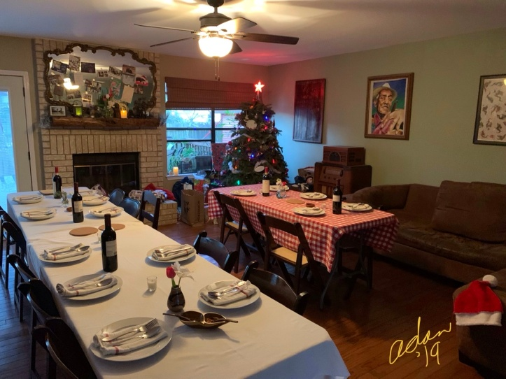 Christmas Dinner Tables Ready in 1 of 2 Rooms 2019
