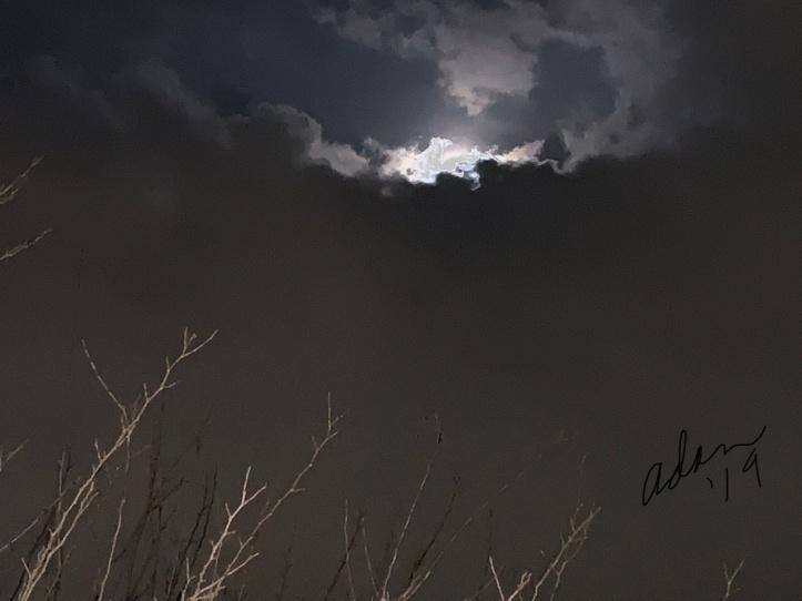 Evening Walk 12.09.19 clouds moon ©Felipe Adan Lerma