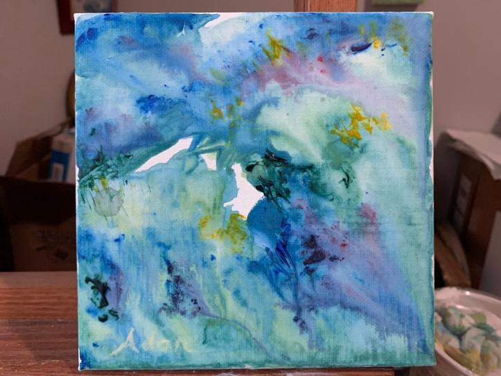 Formerly Ridges of Light, Now In-Progress 6x6 Acrylic Wash Abstract ©Felipe Adan Lerma