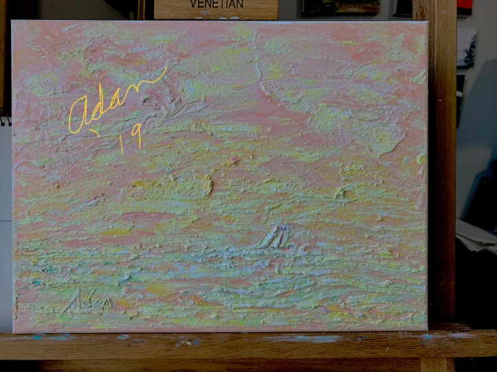 Ship at Sea painting in progress 12.07.19 ©Felipe Adan Lerma