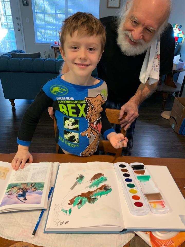 Max Finishing a Watercolor Wash & Ink Drawing 01.12.20 ©Felipe Adan Lerma