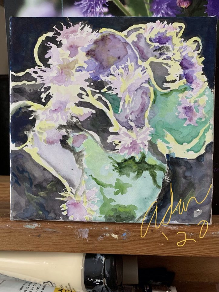 2nd Progress Update Working with Golden Absorbent Ground and Fineline Masking Fluid, on Violet Blooms 02.11.20