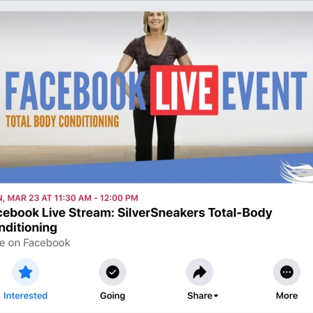 SilverSneakers Virtual Class on FB 03.23.20 10:30 CST https://facebook.com/events/s/facebook-live-stream-silversne/911951825903664/?ti=icl